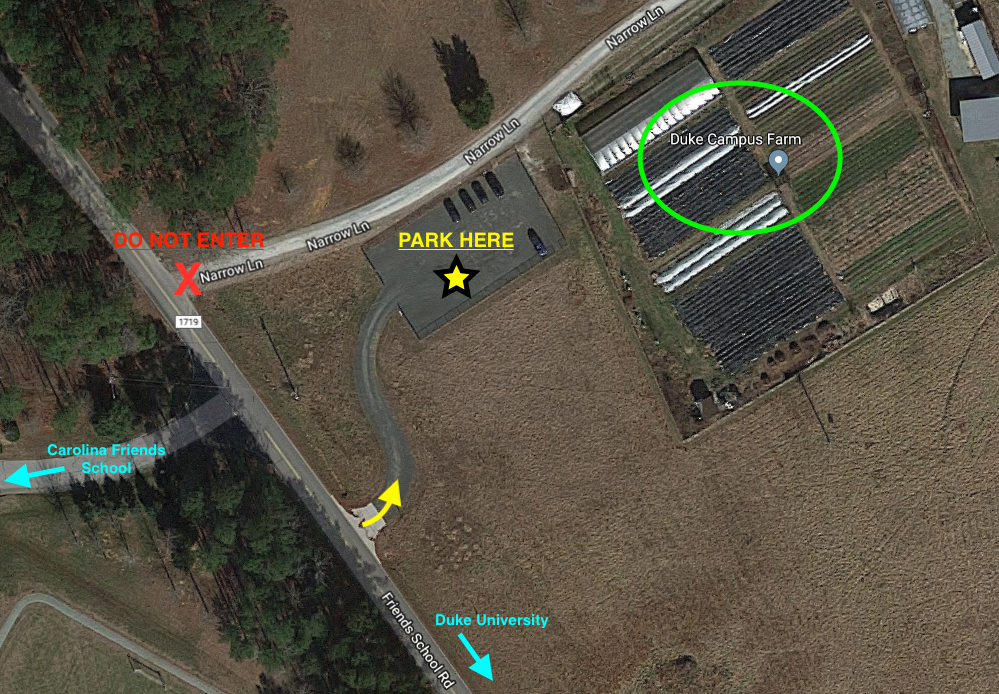 Duke Campus Farm Parking Map